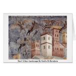 Paisaje urbano del diablo de Giotto Di Bondone Tarjeta De Felicitación