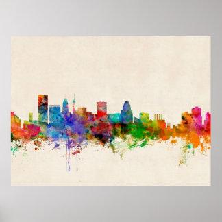 Paisaje urbano del horizonte de Baltimore Maryland Poster