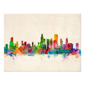 Paisaje urbano del horizonte de Chicago Illinois Cojinete