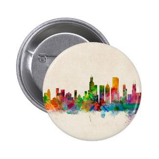 Paisaje urbano del horizonte de Chicago Illinois Pin Redondo De 2 Pulgadas