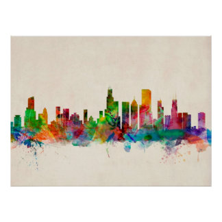 Paisaje urbano del horizonte de Chicago Illinois Póster