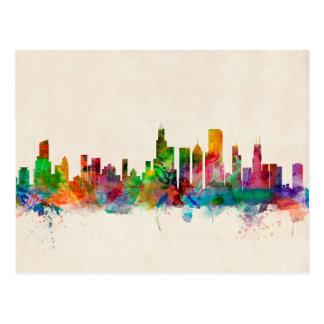 Paisaje urbano del horizonte de Chicago Illinois Postales