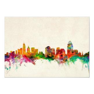 Paisaje urbano del horizonte de Cincinnati Ohio Invitación 12,7 X 17,8 Cm