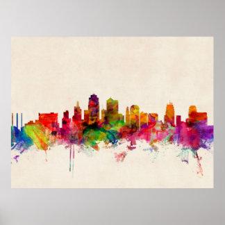 Paisaje urbano del horizonte de Kansas City Póster