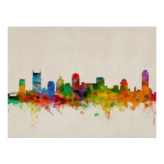 Paisaje urbano del horizonte de Nashville Tennesse Impresiones