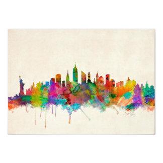 """Paisaje urbano del horizonte de New York City Invitación 5"""" X 7"""""""