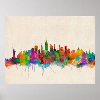 Paisaje urbano del horizonte de New York City Póster