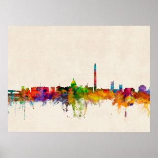 Paisaje urbano del horizonte del Washington DC Poster