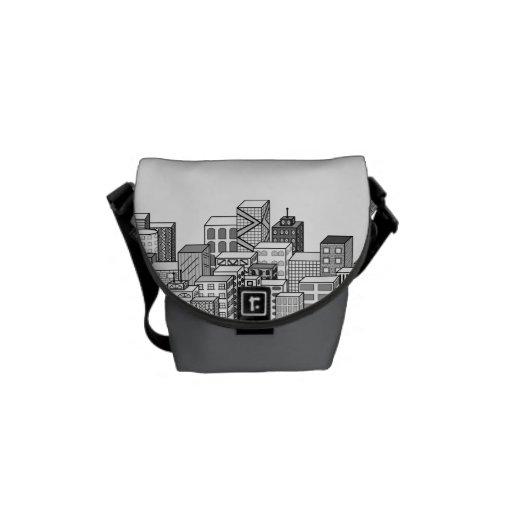 Paisaje urbano del vector (negro y blanco) bolsa de mensajería