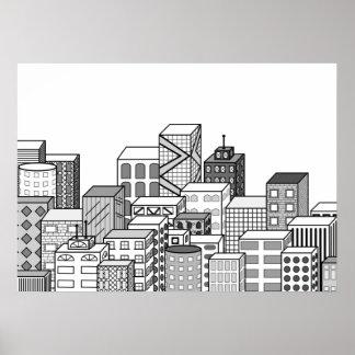 Paisaje urbano del vector (negro y blanco) póster