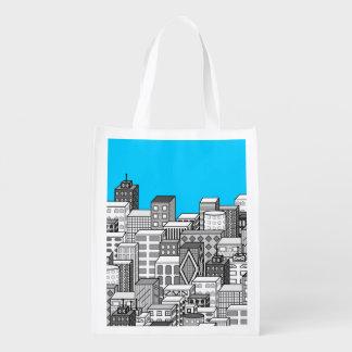 Paisaje urbano del vector y fondo del azul de bolsa reutilizable