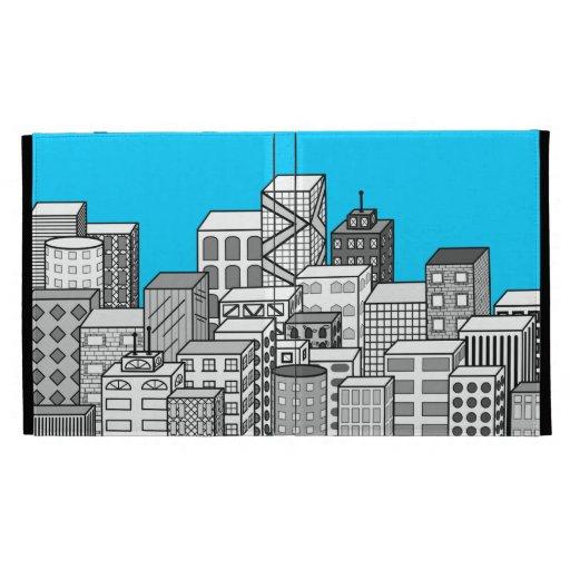 Paisaje urbano del vector y fondo del azul de ciel