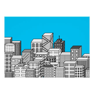 Paisaje urbano del vector y fondo del azul de ciel póster