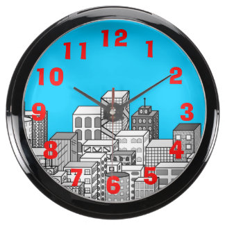 Paisaje urbano del vector y fondo del azul de ciel relojes pecera
