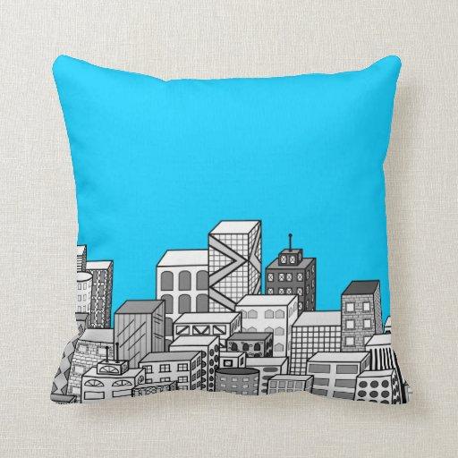 Paisaje urbano del vector y fondo del azul de almohadas