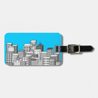 Paisaje urbano del vector y fondo del azul de etiqueta de maleta