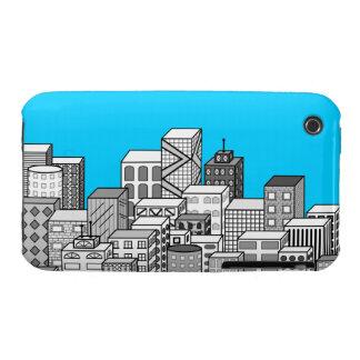 Paisaje urbano del vector y fondo del azul de iPhone 3 protectores