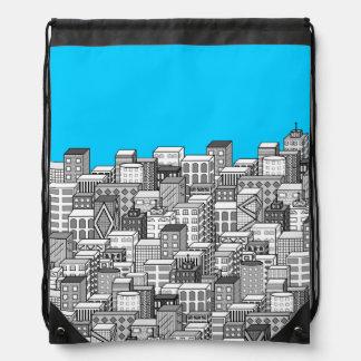 Paisaje urbano del vector y fondo del azul de mochilas
