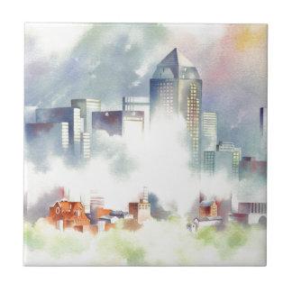 """""""Paisaje urbano dramático del horizonte de Dallas"""" Azulejo Cuadrado Pequeño"""