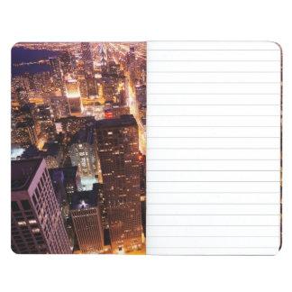 Paisaje urbano en la noche de Chicago Cuaderno