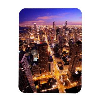 Paisaje urbano en la noche de Chicago Imanes Flexibles