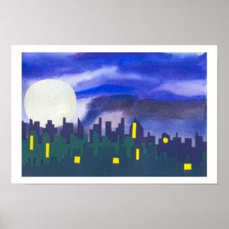 Paisaje urbano en la noche posters