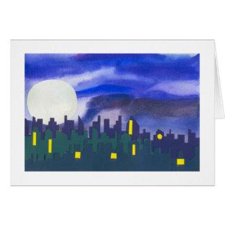 Paisaje urbano en la noche tarjeta