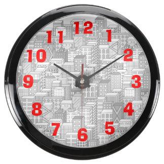 Paisaje urbano negro y blanco del vector (luz) relojes pecera