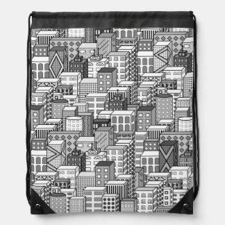 Paisaje urbano negro y blanco del vector mochilas