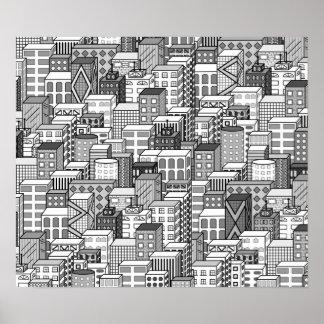 Paisaje urbano negro y blanco del vector póster