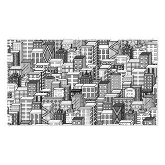 Paisaje urbano negro y blanco del vector tarjetas de visita