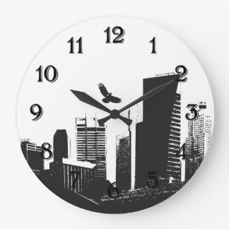Paisaje urbano reloj de pared