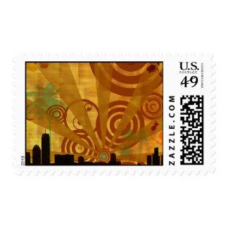 paisaje urbano retro sellos
