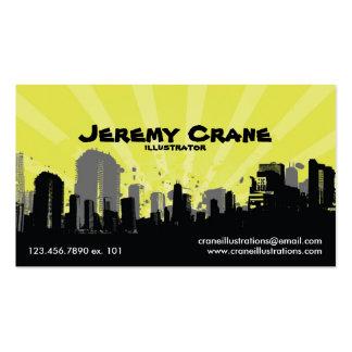 Paisaje urbano urbano del Grunge - amarillo Tarjeta De Visita