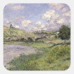 Paisaje, Vetheuil, 1879 Calcomanías Cuadradas