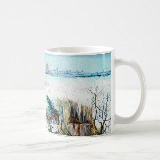 Paisaje w Arles, invierno de Van Gogh Nevado del v Taza