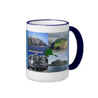 Paisajes de la roca del collage de Alaska Tazas De Café