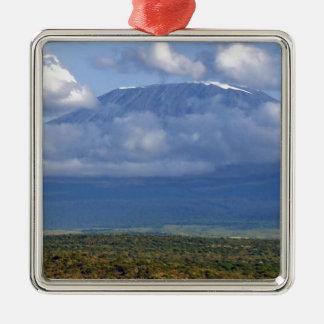 Paisajes de la señal del monte Kilimanjaro Adorno Navideño Cuadrado De Metal