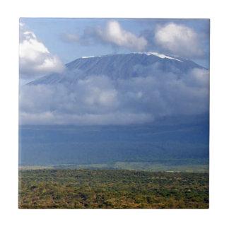 Paisajes de la señal del monte Kilimanjaro Azulejo Cuadrado Pequeño