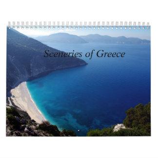 Paisajes del calendario de pared de Grecia
