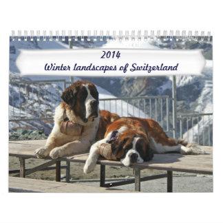 Paisajes del invierno de Suiza Calendarios De Pared