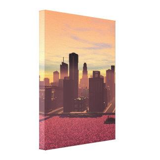 Paisajes urbanos, imagen virtual, ciudad+costa impresión de lienzo