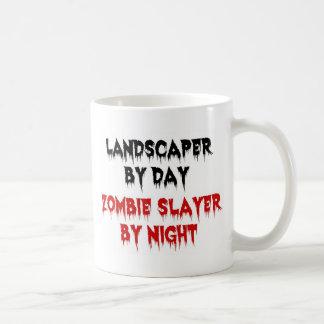 Paisajista del asesino del zombi del día por noche tazas de café