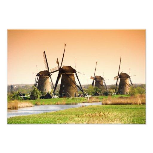 Países Bajos, Kinderdijk. Molinoes de viento al la Fotografia