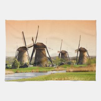 Países Bajos, Kinderdijk. Molinoes de viento al Toallas De Cocina