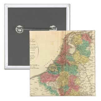 Países Bajos, mapa del atlas de Beligium Pin Cuadrada 5 Cm
