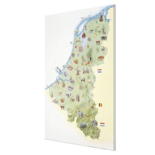 Países Bajos, mapa que muestra distinguiendo carac Impresión De Lienzo