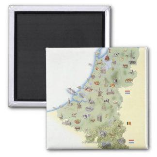Países Bajos, mapa que muestra distinguiendo Imán Cuadrado