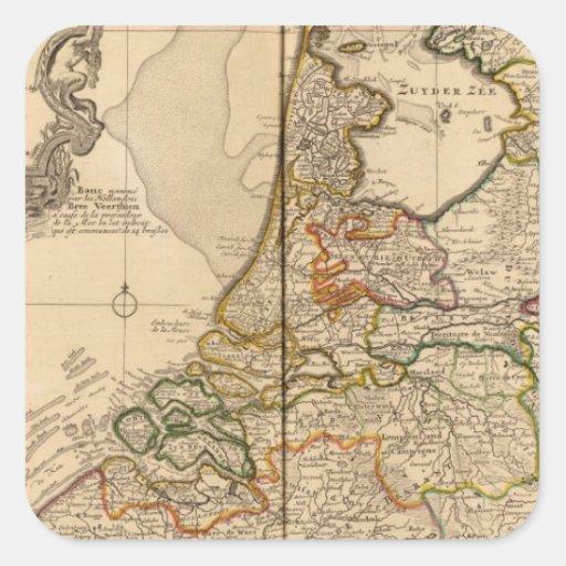 Países Bajos y Bélgica Calcomanías Cuadradass Personalizadas