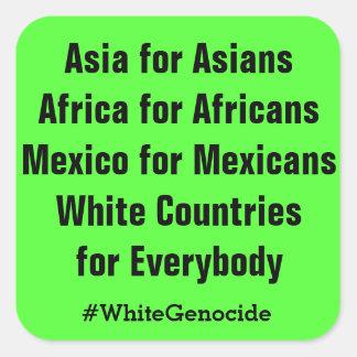 Países blancos para todos pegatina cuadrada